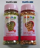 Cukrové perly perleťové ZLATÉ 6 mm - 60 g