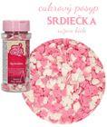 Cukrový posyp ružovo biele srdiečka