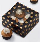 Krabice na 4 cupcakes - GOLD DOT - 3 ks