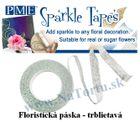 Trblietavá floristicka páska - BIELA / STRIEBORNÁ - VO bal.3 ks