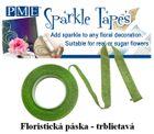 Trblietavá floristicka páska - GREEN/SILVER - VO bal.3 ks