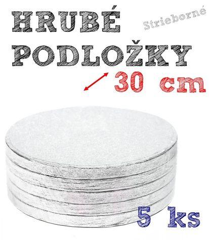 Hrubé podnosy pod tortu STRIEBORNÉ - 30cm - 5 ks
