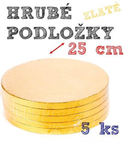 Hrubé podnosy pod tortu ZLATÉ - 25 cm - 5 ks