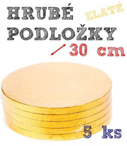 Hrubé podnosy pod tortu ZLATÉ - 30cm - 5 ks