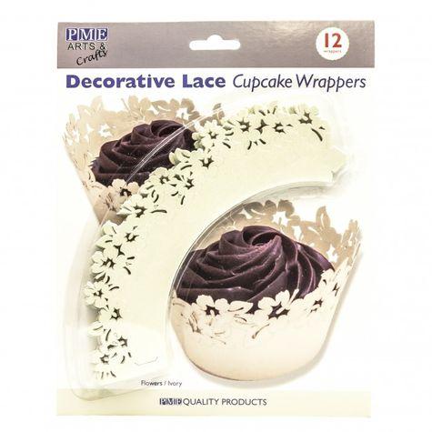 kvetinové lemovky na cupcakes - SMOTANOVĚ - 12 ks