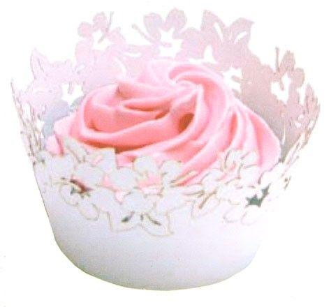 kvetinové lemovky okolo cupcakes - BIELE - 12 ks