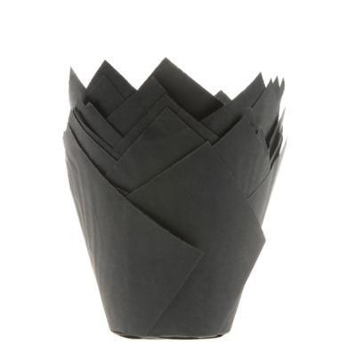 papierové košíčky TULIP - ČIERNE - 36 ks
