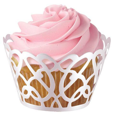 špirálové lemovky okolo cupcake košíčkov BIELE - 18 ks
