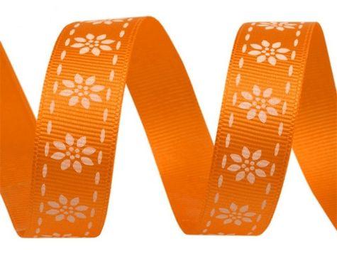Stuha sat. 15 mm - kvetinky - oranžová